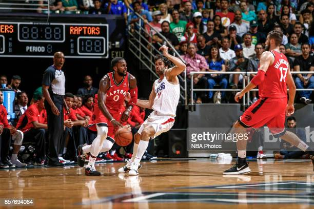 Miles of the Toronto Raptors handles the ball during the preseason game against the LA Clippers on October 4 2017 at the Stan Sheriff Center in...