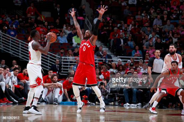 Miles of the Toronto Raptors plays defense against the Chicago Bulls on October 13 2017 at the United Center in Chicago Illinois NOTE TO USER User...