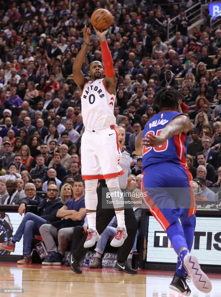 C.J. Miles #0 of the Toronto Raptors shoots and scores a three-pointer against the Detroit Pistons at Air Canada Centre on January 17, 2018 in Toronto, Canada.