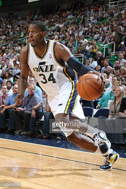 J Miles of the Utah Jazz drives to the basket against the Phoenix Suns at Energy Solutions Arena on April 4 2012 in Salt Lake City Utah NOTE TO USER...