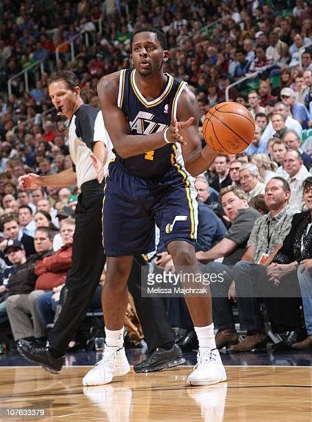 J Miles of the Utah Jazz handles the ball during a game against the Oklahoma City Thunder at EnergySolutions Arena on November 15 2010 in Salt Lake...