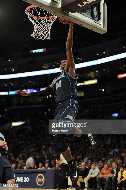 J Miles of the Utah Jazz lays the ball up during Game Two of the Western Conference Semifinals against the Los Angeles Lakers during the 2010 NBA...