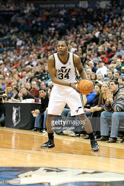 J Miles of the Utah Jazz looks to pass against the Minnesota Timberwolves during a game on March 11 2011 at the Target Center in Minneapolis...