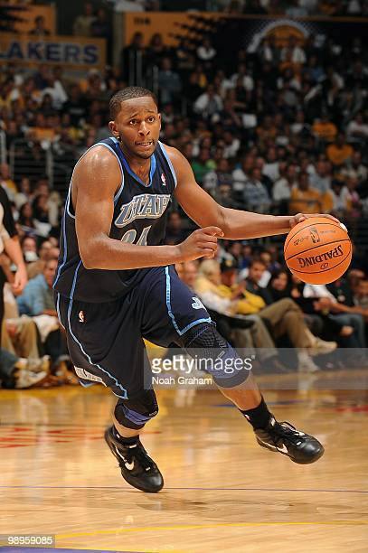 J Miles of the Utah Jazz moves the ball against the Los Angeles Lakers in Game One of the Western Conference Semifinals during the 2010 NBA Playoffs...