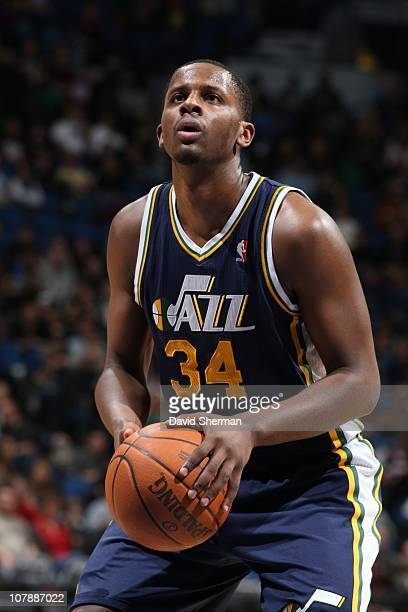 J Miles of the Utah Jazz prepares for a free throw during the game against the Minnesota Timberwolves on December 22 2010 at Target Center in...