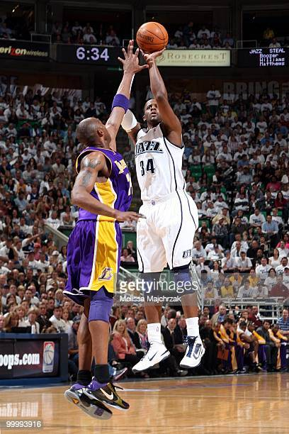 J Miles of the Utah Jazz shoots a jump shot against Kobe Bryant of the Los Angeles Lakers in Game Three of the Western Conference Semifinals during...