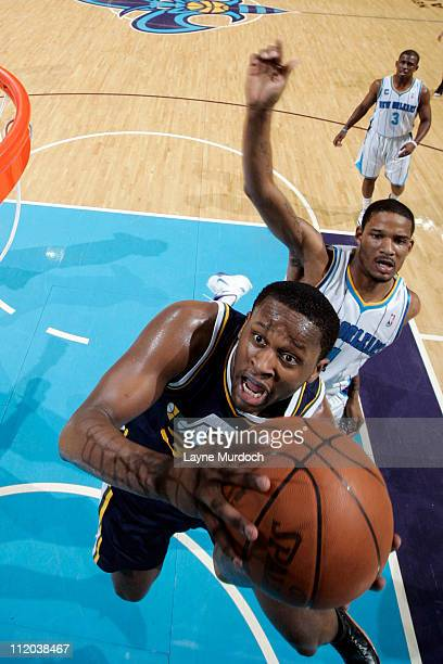 J Miles of the Utah Jazz shoots against the New Orleans Hornets on April 11 2011 at the New Orleans Arena in New Orleans Louisiana NOTE TO USER User...