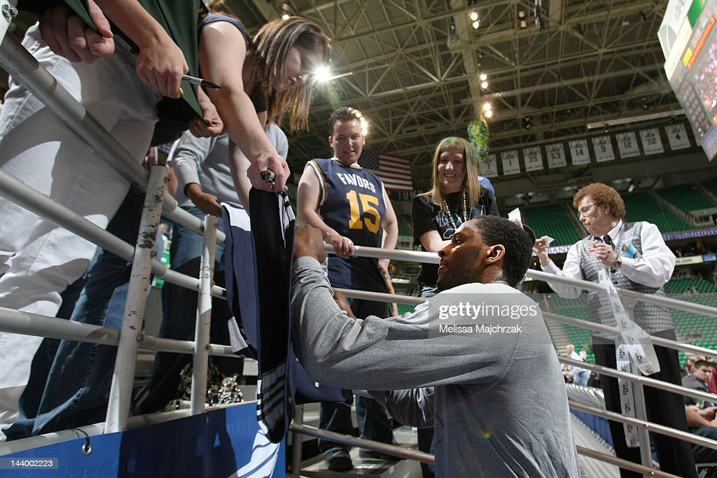 C.J. Miles #34 of the Utah Jazz signs autographs for fans before his team faces the San Antonio Spurs in Game Four of the Western Conference Quarterfinals during the 2012 NBA Playoffs at Energy Solutions Arena on May 7, 2012 in Salt Lake City, Utah.