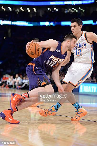 Miles Plumlee of Team Hill drives against Team Webber during the 2014 BBVA Compass Rising Stars Challenge at Smoothie King Center on February 14 2014...