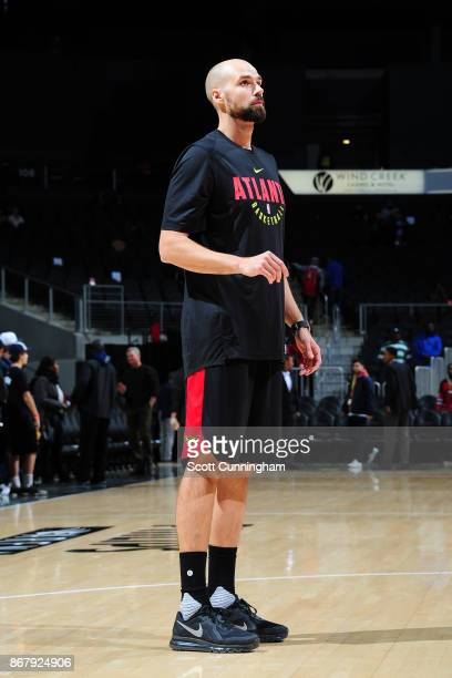 Miles Plumlee of the Atlanta Hawks looks on before the game against the Milwaukee Bucks on October 29 2017 at Philips Arena in Atlanta Georgia NOTE...