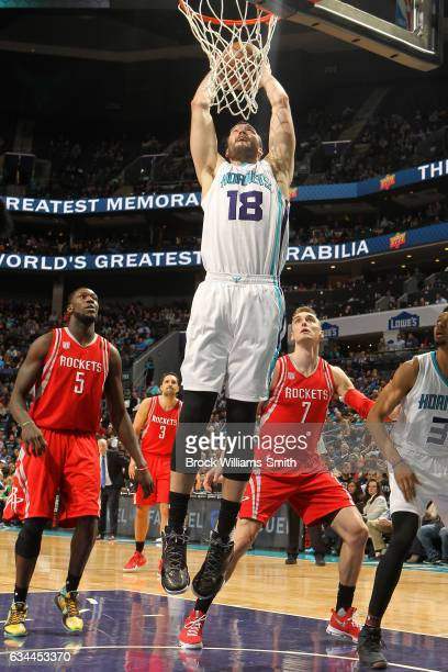 Miles Plumlee of the Charlotte Hornets dunks against the Houston Rockets on February 9 2017 at Spectrum Center in Charlotte North Carolina NOTE TO...