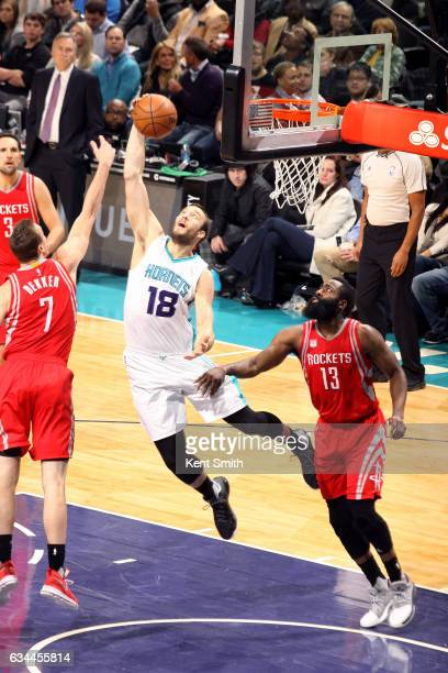 Miles Plumlee of the Charlotte Hornets gets the rebound during the game against the Houston Rockets on February 9 2017 at Spectrum Center in...