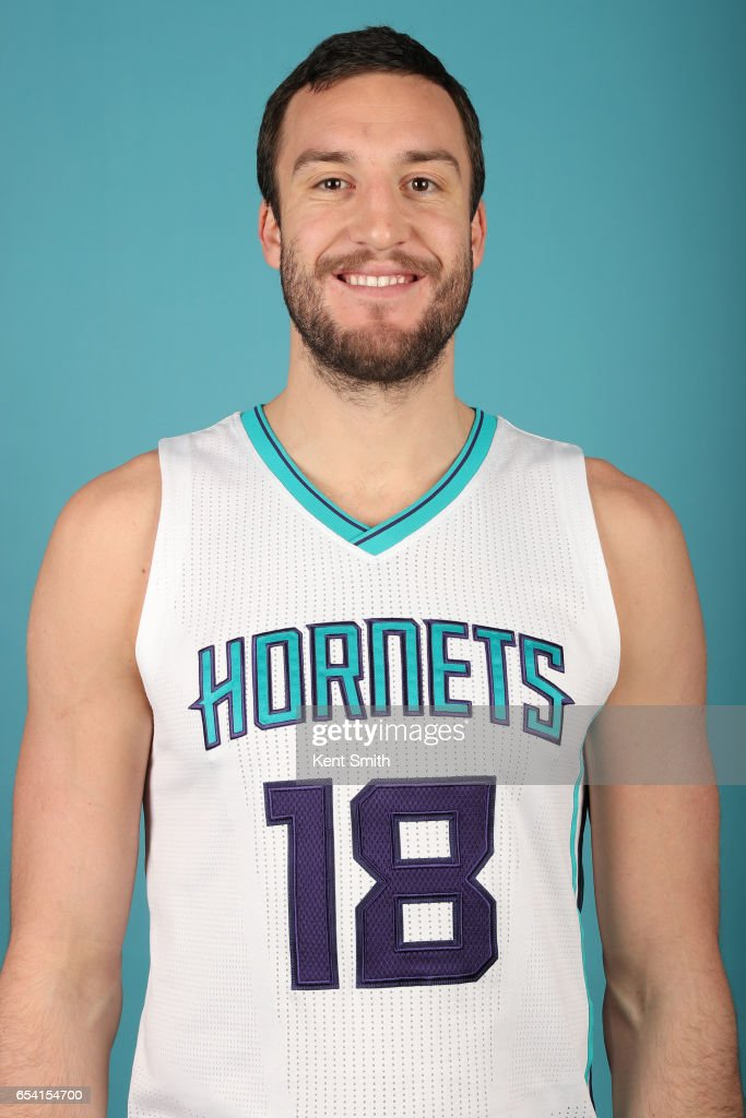 Miles Plumlee #18 of the Charlotte Hornets poses for a head shot on March 13, 2017 at Spectrum Center in Charlotte, North Carolina.