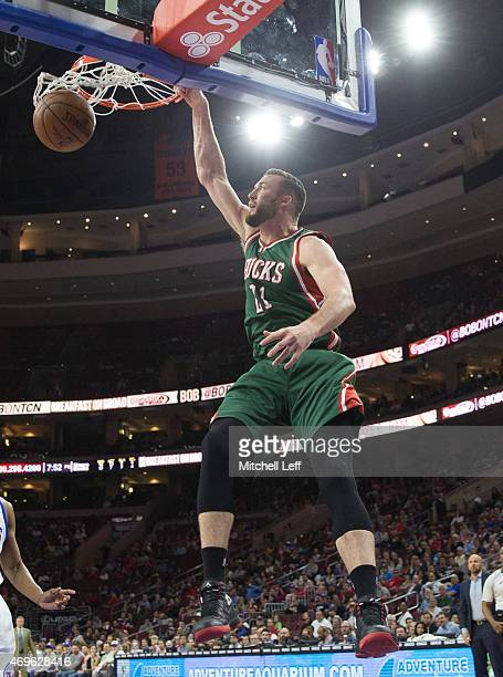 Miles Plumlee of the Milwaukee Bucks dunks the ball against the Philadelphia 76ers on April 13 2015 at the Wells Fargo Center in Philadelphia...