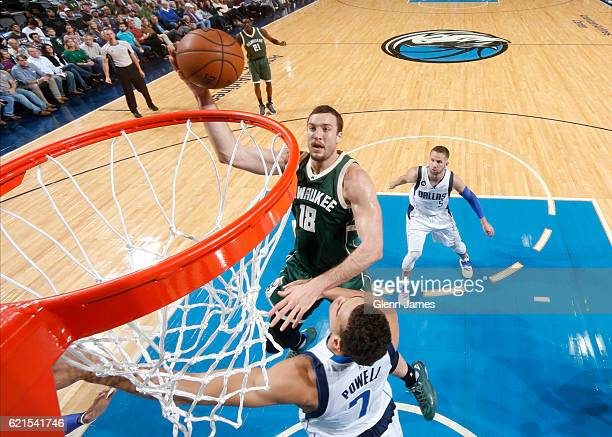 Miles Plumlee of the Milwaukee Bucks goes in for the lay up against the Dallas Mavericks on November 6 2016 at the American Airlines Center in Dallas...