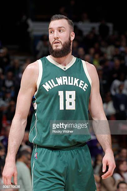 Miles Plumlee of the Milwaukee Bucks looks on during the game against the Sacramento Kings on February 1 2016 at Sleep Train Arena in Sacramento...