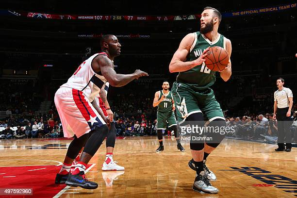 Miles Plumlee of the Milwaukee Bucks looks to pass the ball during the game on November 17 2015 at Verizon Center in Washington DC NOTE TO USER User...