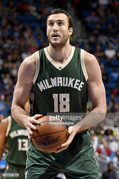 Miles Plumlee of the Milwaukee Bucks shoots a free throw against the Orlando Magic on January 20 2017 at Amway Center in Orlando Florida NOTE TO USER...