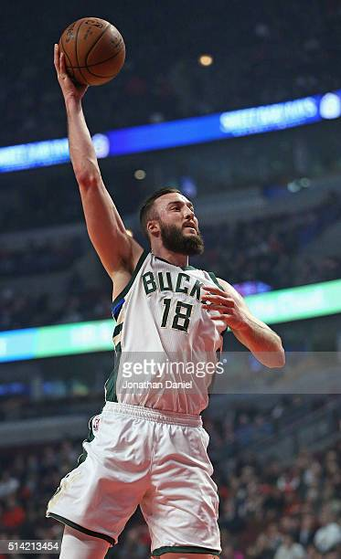 Miles Plumlee of the Milwaukee Bucks shoots against the Chicago Bulls at the United Center on March 7 2016 in Chicago Illinois NOTE TO USER User...