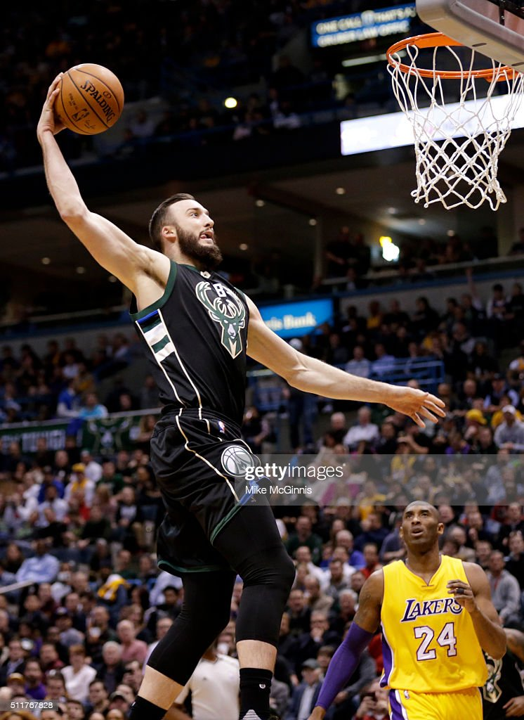 Miles Plumlee of the Milwaukee Bucks slam dunks the basketball during the first quarter against the Los Angeles Lakers at BMO Harris Bradley Center...