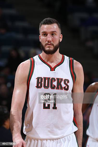 Miles Plumlee of the Milwaukee Bucks stands on the court during a game against the Golden State Warriors on February 22 2015 at BMO Harris Bradley...