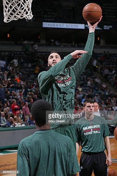 Miles Plumlee of the Milwaukee Bucks warms up before the game against the Denver Nuggets on February 20 2015 at the BMO Harris Bradley Center in...