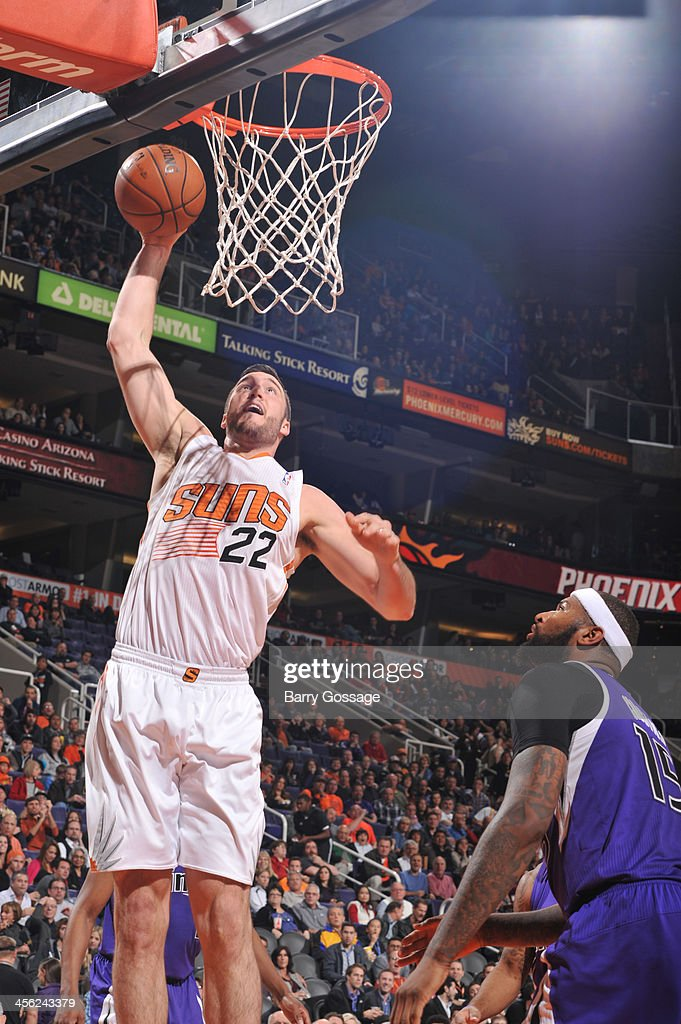 <a gi-track='captionPersonalityLinkClicked' href=/galleries/search?phrase=Miles+Plumlee&family=editorial&specificpeople=5645212 ng-click='$event.stopPropagation()'>Miles Plumlee</a> #22 of the Phoenix Suns dunks against the Sacramento Kings on December 13, 2013 at U.S. Airways Center in Phoenix, Arizona.