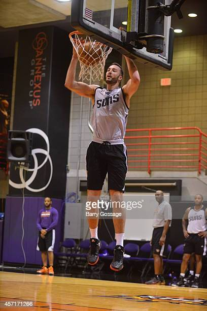 Miles Plumlee of the Phoenix Suns dunks during Training Camp on NBA TV on October 7 2014 at US Airways Center in Phoenix Arizona NOTE TO USER User...