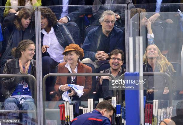 Miles Robbins Susan Sarandon Robert De Niro Michael J Fox and Tracy Pollan attend Montreal Canadiens vs New York Rangers playoff game at Madison...
