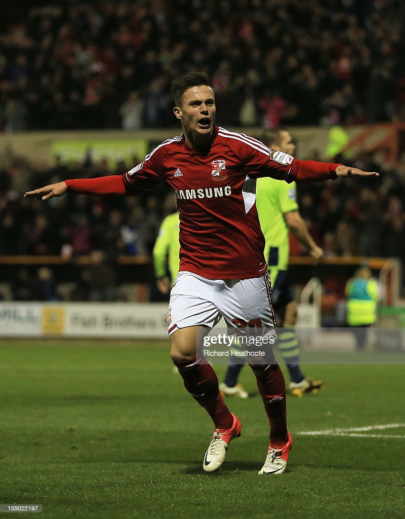 Miles Storey of Swindon Town celebrates his goal during the Capital One Cup Fourth Round match between Swindon Town and Aston Villa at the County Ground on October 30, 2012 in Swindon, England.