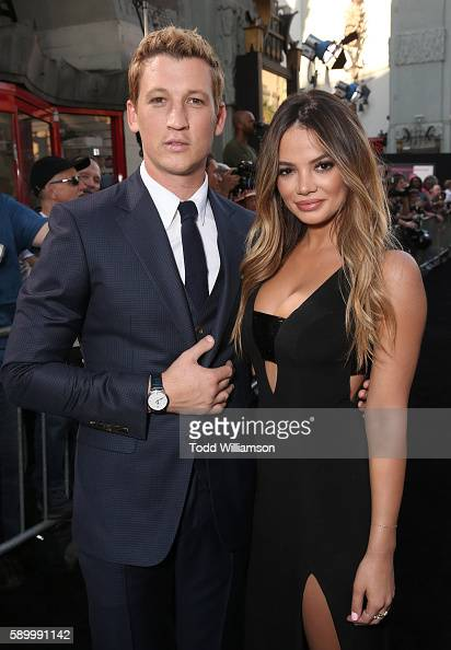 Miles Teller and Keleigh Sperry attend the premiere Of Warner Bros Pictures' 'War Dogs' at TCL Chinese Theatre on August 15 2016 in Hollywood...