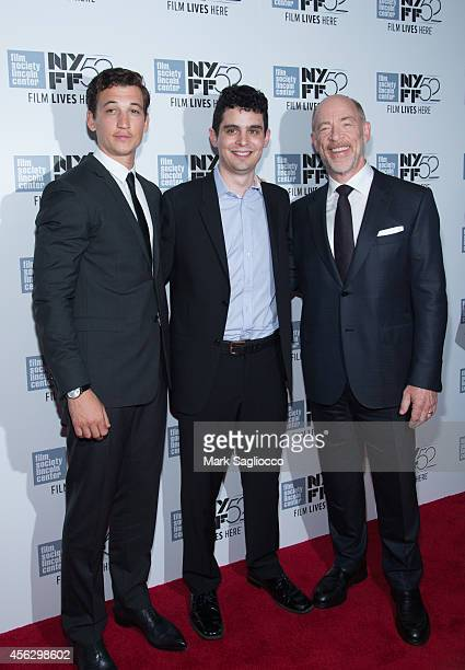 Miles Teller Damien Chazelle and JK Simmons attend the 'Whiplash' premiere during the 52nd New York Film Festival at Alice Tully Hall on September 28...