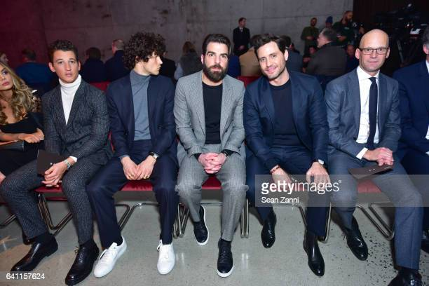 Miles Teller Miles McMillin Zachary Quinto Edgar Ramirez and Mark Langer attend Boss Front Row NYFW Men's at Skylight Modern on January 31 2017 in...