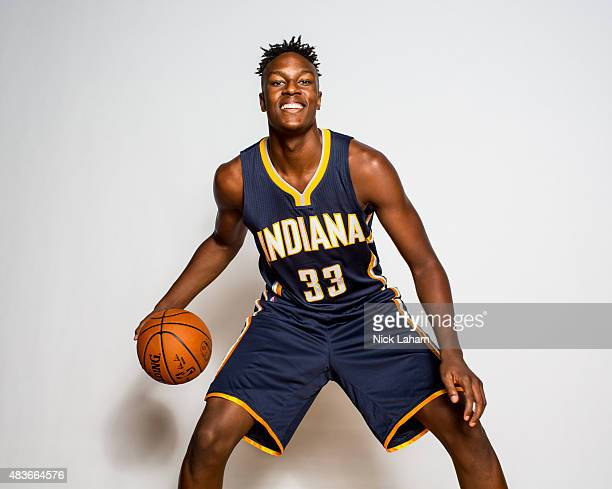 Miles Turner of the Indiana Pacers poses for a portrait during the 2015 NBA rookie photo shoot on August 8 2015 at the Madison Square Garden Training...