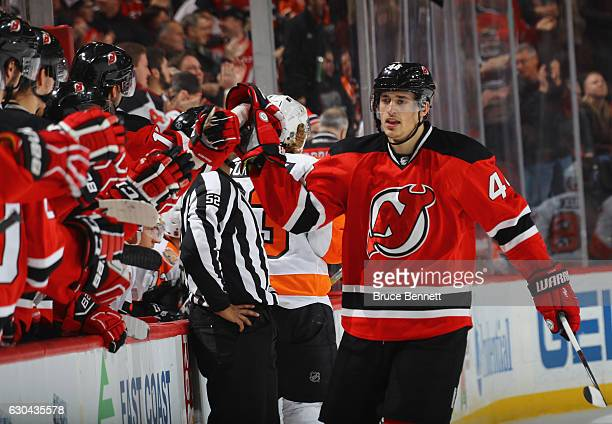 Miles Wood of the New Jersey Devils celebrates his goal at 1326 of the first period against the Philadelphia Flyers at the Prudential Center on...
