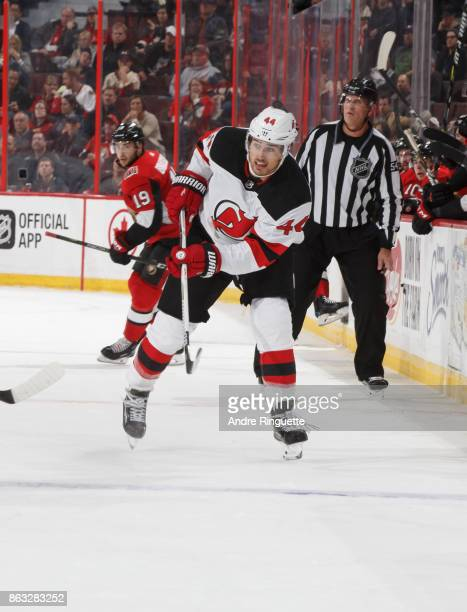 Miles Wood of the New Jersey Devils skates against the Ottawa Senators at Canadian Tire Centre on October 19 2017 in Ottawa Ontario Canada