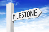 """White wooden signpost with one arrow - """"milestone """"."""