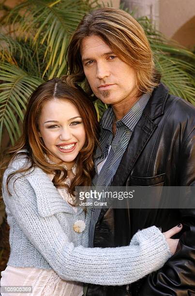Miley Cyrus and Billy Ray Cyrus during Stars of Disney Channel's 'Hannah Montana' Meet the Press at Ritz Carlton Huntington Hotel in Pasadena...