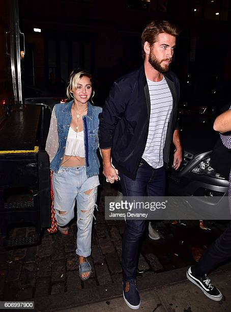 Miley Cyrus and Liam Hemsworth arrive to Catch on September 15 2016 in New York City