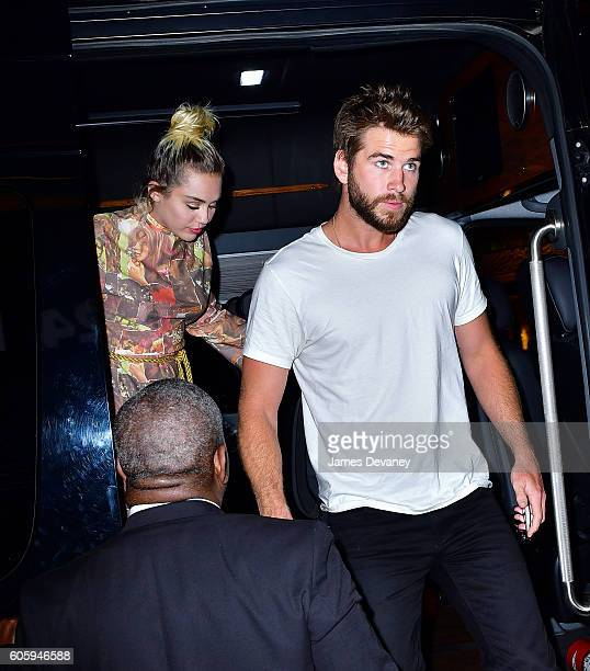 Miley Cyrus and Liam Hemsworth seen on the streets of Manhattan on September 15 2016 in New York City