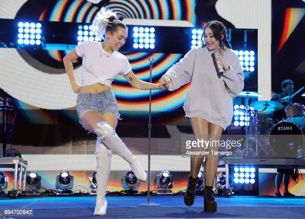 Miley Cyrus and Noah Cyrus perform on stage during the iHeartSummer '17 Weekend by ATT at Fontainebleau Miami Beach on June 10 2017 in Miami Beach...
