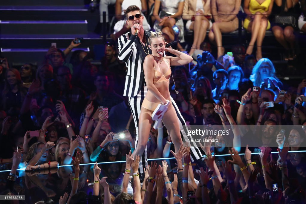 Miley Cyrus and Robin Thicke perform onstage during the 2013 MTV Video Music Awards at the Barclays Center on August 25 2013 in the Brooklyn borough...