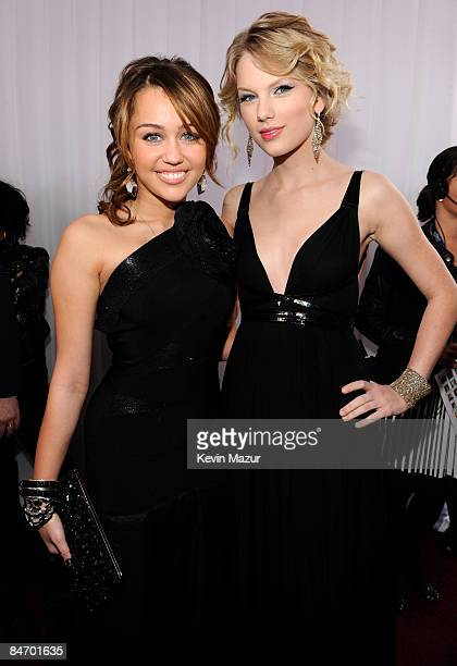 Miley Cyrus and Taylor Swift arrives to the 51st Annual GRAMMY Awards at the Staples Center on February 8 2009 in Los Angeles California