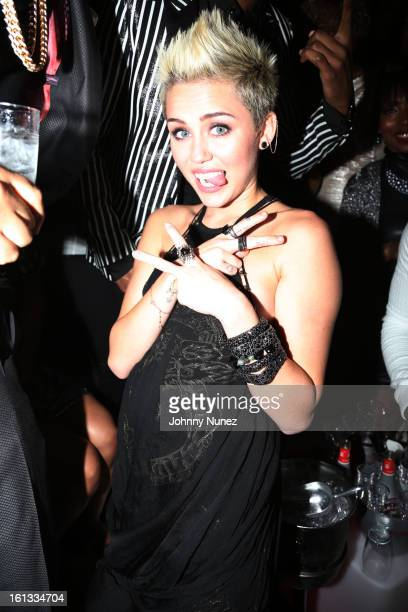 Miley Cyrus attends Compound Entertainment And Malibu Red GRAMMY Midnight Brunch 2013 at Bagatelle/STK on February 9 2013 in West Hollywood California