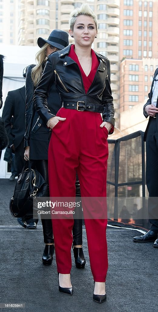 Miley Cyrus attends Fall 2013 Mercedes-Benz Fashion Show at The Theater at Lincoln Center on February 13, 2013 in New York City.
