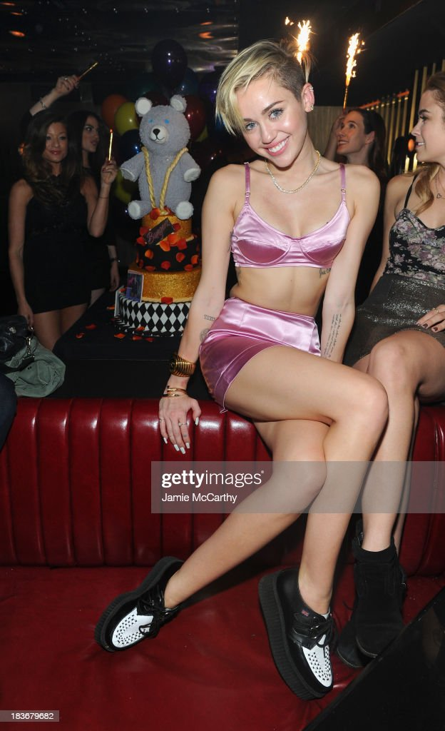 <a gi-track='captionPersonalityLinkClicked' href=/galleries/search?phrase=Miley+Cyrus&family=editorial&specificpeople=3973523 ng-click='$event.stopPropagation()'>Miley Cyrus</a> attends <a gi-track='captionPersonalityLinkClicked' href=/galleries/search?phrase=Miley+Cyrus&family=editorial&specificpeople=3973523 ng-click='$event.stopPropagation()'>Miley Cyrus</a>' Official Album Release Party for 'Bangerz' at The General on October 8, 2013 in New York City.