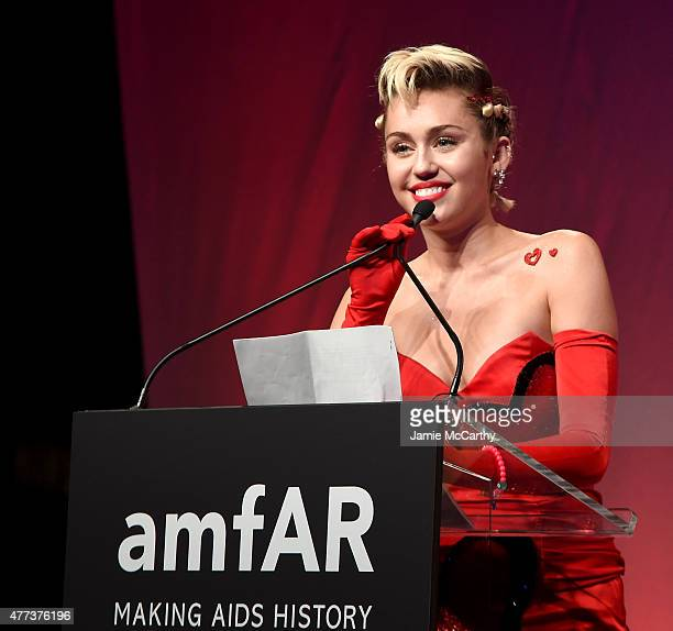 Miley Cyrus attends Moet Chandon Toasts to the amfAR Inspiration Gala at Spring Studios on June 16 2015 in New York City
