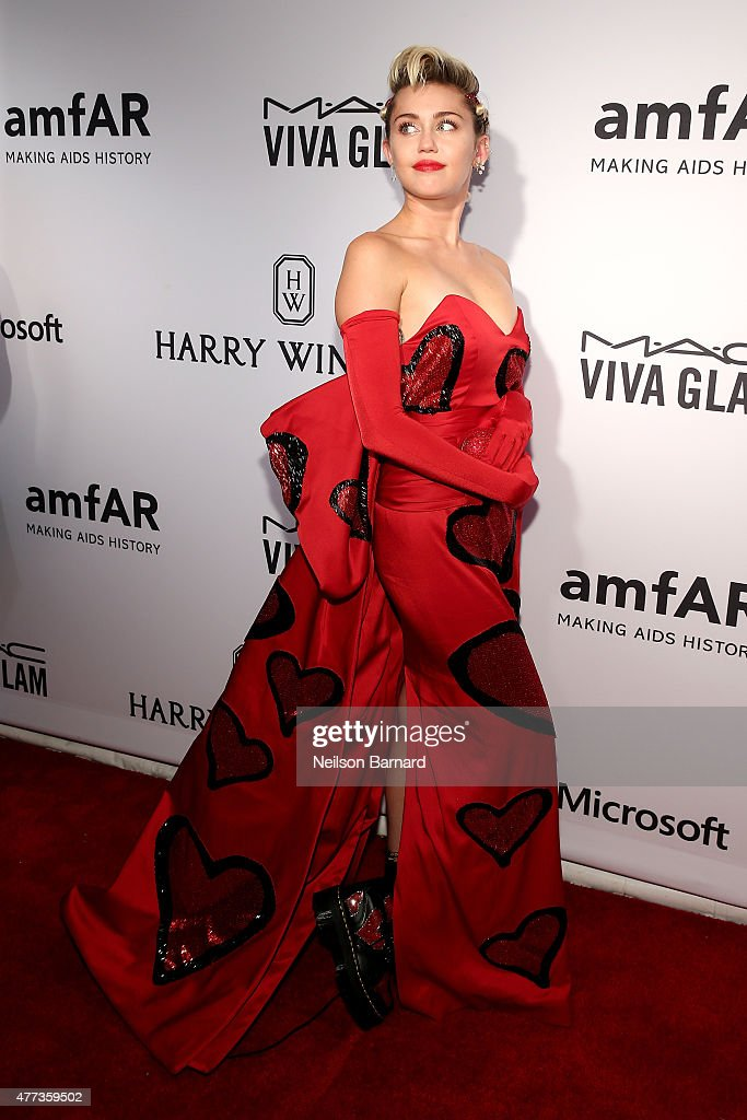 Miley Cyrus attends the 2015 amfAR Inspiration Gala New York at Spring Studios on June 16 2015 in New York City