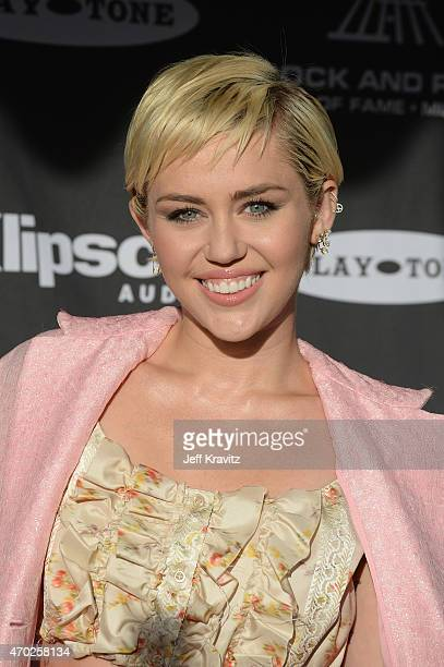 Miley Cyrus attends the 30th Annual Rock And Roll Hall Of Fame Induction Ceremony at Public Hall on April 18 2015 in Cleveland Ohio