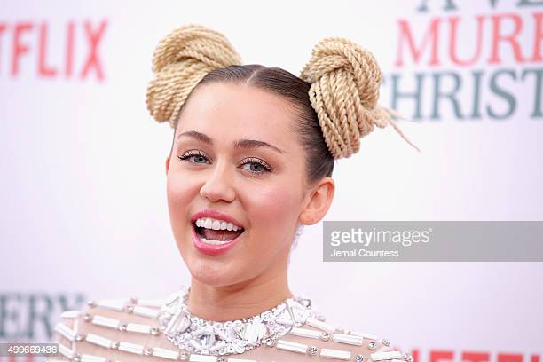 Miley Cyrus attends the 'A Very Murray Christmas' New York Premiere at Paris Theater on December 2 2015 in New York City